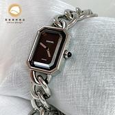 【雪曼國際精品】Chanel 金屬Premiere M手錶銀色/ 黑色 H0452 M尺寸~二手商品(9成新)