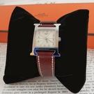 【雪曼國際精品】HERMES H-OUR經典H小型銀框款時尚腕錶深咖啡色錶帶30x21mm~二手商品(9.3成新)