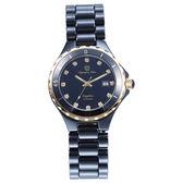Olympia Star 奧林比亞之星 時尚陶瓷腕錶-黑X金/33mm