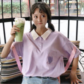夏季韓版ulzzang百搭可愛POLO衫愛心五分袖T恤學生寬鬆短袖上衣女  檸檬衣舍