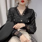 蕾絲上衣 春季新品名媛氣質流蘇V領蕾絲襯衫女長袖洋氣內搭上衣打底衫【快速出貨】