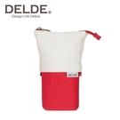 紅色款【日本正版】DELDE 純色系列 帆布 伸縮筆袋 筆筒 鉛筆盒 收納包 sun-star - 489582
