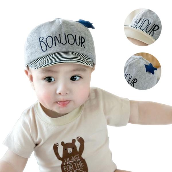 童帽 棒球帽 鴨舌帽 條紋字母遮陽帽-JoyBaby