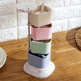 小麥秸稈調味罐立式旋轉調料盒廚房調味盒調料罐套裝調味料佐料盒
