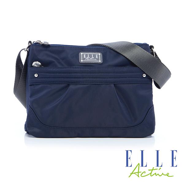 Backbager 背包族 【ELLE Active】優雅隨行系列-三夾層側背包/斜背包(深藍色)