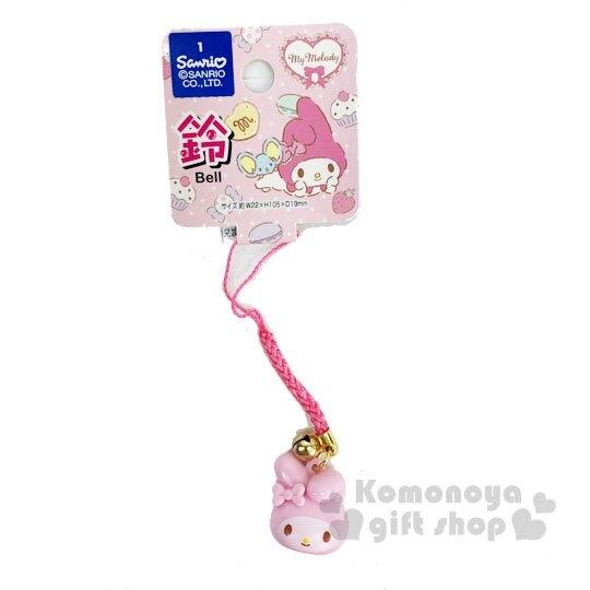〔小禮堂〕美樂蒂 大臉造型塑膠鈴鐺吊飾《粉白》掛飾.鑰匙圈.銅板小物 4573135-58099