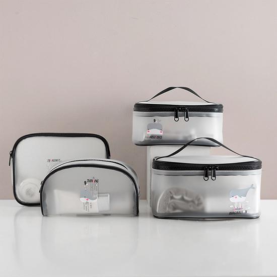 化妝包 透明袋 洗漱包 A款 果凍包 收納包 收納袋 防水包 手提包 透明化妝包【Z115】米菈生活館