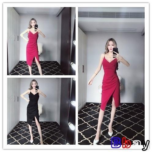 百姓館 春夏裙子時尚小心機低胸顯瘦不規則開叉褶皺吊帶裙連身裙