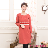 【RED HOUSE-蕾赫斯】圓領打褶蕾絲洋裝(共二色)