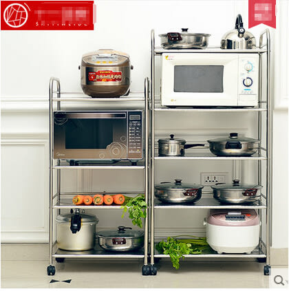 廚房置物架微波爐架落地不銹鋼鍋架廚房用品收納儲物架