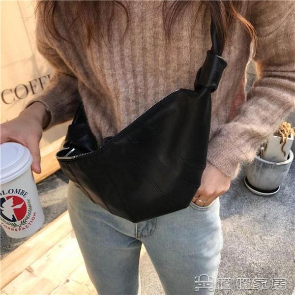 腰包 W男女同款斜背包胸包腰包餃子包秀款牛角形Small Bum Bag腰包 【母親節特惠】