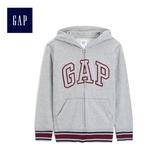 Gap男童 Logo舒適連帽長袖外套 490766-淺麻灰