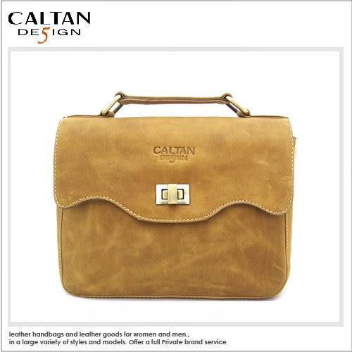 牛皮/斜背包【CALTAN】甜美風輕巧波浪開口兩用斜背/手提包-5223ht