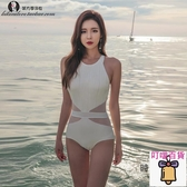 游泳衣女性感連體三角小胸聚攏修身溫泉大碼泳裝【萬客居】