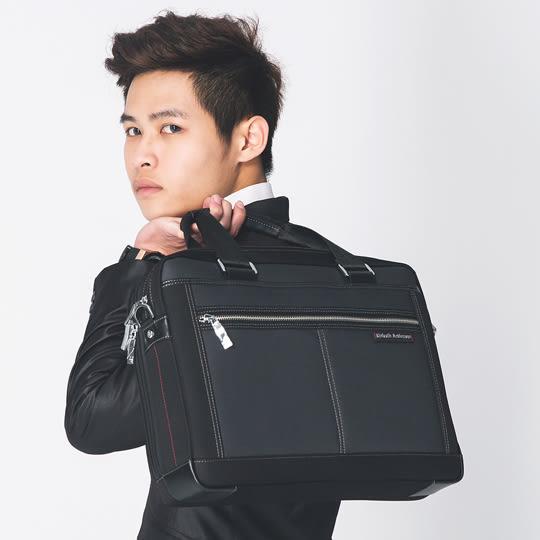 手提包 金安德森 都會暖男 商務型手提斜側公式包-灰黑