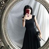 新品夏季複古無袖吊帶顯瘦高腰氣質優雅連身裙中長版小黑裙女