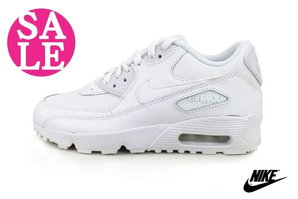 NIKE大童鞋(女段) Air Max 90 LTR (GS)經典白 皮革 學生鞋 運動休閒鞋 零碼出清  N7043#白色◆OSOME奧森童鞋