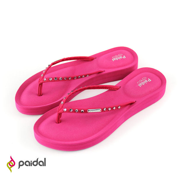 Paidal 質感鑽飾膨膨氣墊美型厚底夾腳拖鞋涼鞋-玫瑰紅