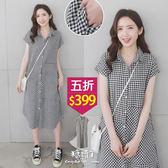 【五折價$399】糖罐子格紋接布側口袋棉麻襯衫洋裝→黑白格 預購【E54254】