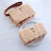 Gladee餅干造型斜挎包 plus手機零錢收納包 曲奇毛絨小背包化妝包