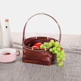 創意竹編裝飾儲物籃 中式復古手提籃 果盤 茶道 零食置物喜糖籃   初見居家