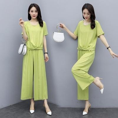 棉麻套裝8183#實拍純色棉麻兩件套女夏季新款時尚大碼九分闊腿褲套裝MB118 依品國際