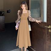 長袖洋裝 點點拼接雪紡連身裙-媚儷香檳-【FD0157】