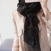 絲巾女百搭桑蠶絲羊毛格子圍巾披肩長款兩用紗巾【聚寶屋】