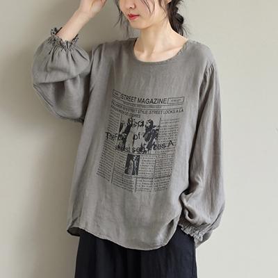 亞麻印花長袖T恤 寬鬆套頭圓領上衣/3色-夢想家-0325