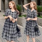 漂亮小媽咪 韓式 格子紋洋裝 【D7836】 格紋 短袖 雪紡裙 洋裝 孕婦裝 []