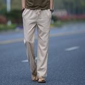 夏季亞麻褲男 寬鬆直筒運動長褲棉麻褲男褲系帶中國風休閒褲薄款