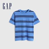 Gap男童 厚磅密織系列碳素軟磨 純棉短袖T恤 755463-海軍藍條紋
