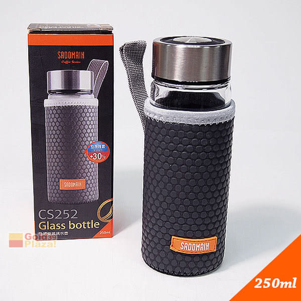BO雜貨【SV8249】250ml仙德曼雙層護套玻璃壺 耐熱玻璃水瓶 特厚玻璃杯 冷水壺 隨身杯 咖啡杯 檸檬瓶