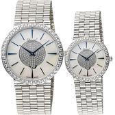 Ogival 愛其華 聚星晶鑽經典對錶/情侶手錶-銀x珍珠貝/38+30mm 377-1MW+377-1LW