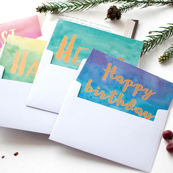 【BlueCat】燙金水彩漸層生日快樂祝福賀卡 卡片 小卡