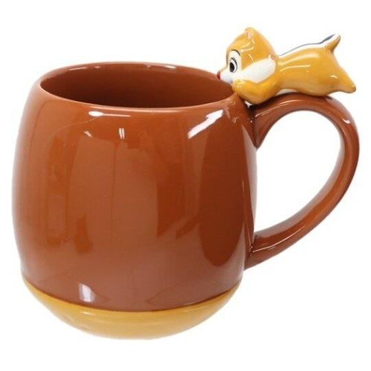 小禮堂 迪士尼 蒂蒂 造型陶瓷馬克杯 咖啡杯 陶瓷杯 茶杯 300ml (深棕 杯邊玩偶) 4942423-25562