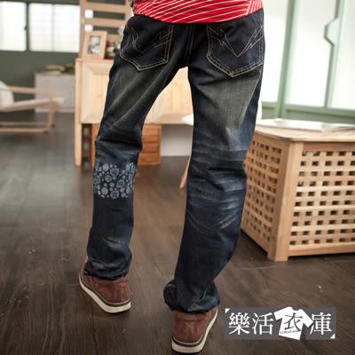抓破印花刷紋刷白中直筒牛仔褲@樂活衣庫【19626】