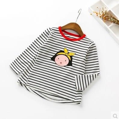 T恤兒童寶寶兒童長袖秋季款打底衫女新款長袖條紋T恤上衣