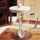 【蘿蔔。上  兔子陶瓷蓋 陶瓷勺】韓國可愛兔子玻璃杯清新早餐杯女