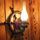 歐式復古地中海風實木壁燈...