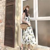 復古港味chic韓風裙子連身裙學生中長清新交叉性感露背吊帶裙