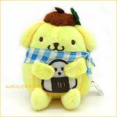 布丁狗藍格抱飯糰造型絨毛玩偶吊飾/掛飾/鑰匙圈-掛包包上或掛車上都好用-台灣授權正版商品