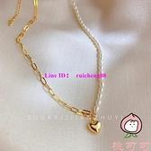小眾設計感淡水珍珠不對稱拼接鎖骨鏈愛心吊墜項鏈女【桃可可服飾】