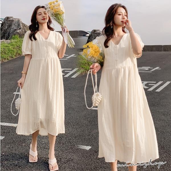 孕婦裝 MIMI別走【P521462】微光浪漫 優雅開扣雪紡孕婦洋裝 孕婦裙 長裙