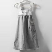 圍裙純棉圍裙女家用廚房韓版時尚成人工作服做飯可愛背心式罩衣圍腰女可卡衣櫃