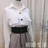 腰帶腰封 洋裝寬腰帶黑色女腰帶寬蕾絲流蘇雪紡衫裝飾綁帶初語