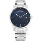 CK / K2G2G14Q / 都會時尚 條紋質感 礦石強化玻璃 日期 不鏽鋼手錶 藍色 43mm