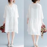 洋裝 連身裙 大碼女裝夏季V領燈籠袖中長款洋裝顯瘦遮肚子文藝大擺亞麻裙子