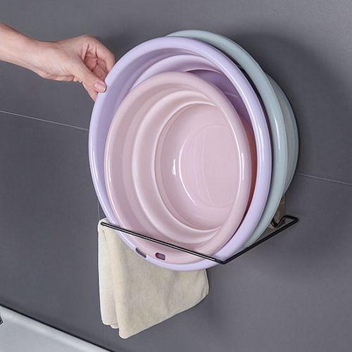 浴室免打孔鐵藝臉盆收納架 壁掛架 置物架 毛巾架 (隨機出貨)