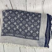 BRAND楓月 LOUIS VUITTON LV 路易威登 401910 藍灰原花圍巾 絲巾 方巾 40%羊毛 60%絲